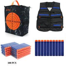 100x Bullets Darts+Vest Jacket+Storage Target Bag for Kid NERF N-Strike Gun Toy