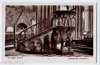 Worcester, England vintage Real Photo Postcard - The Nave Pulpit in Cathedral