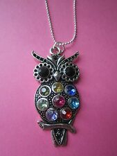 "VINTAGE Rainbow Diamante Argento Wise Owl 16 ""SILVER PLATED COLLANA Nuovissimo"
