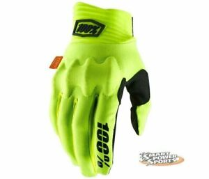100% Adult COGNITO Gloves -FLUO YELLOW CHOOSE SIZE- Touch Screen- MX ATV MTB D30