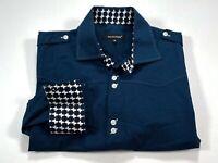 Bogosse 5 US XL Flip Cuff Navy Blue Long Sleeve Button Front Shirt