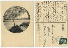 31894 - Zeichnung - Seenlandschaft mit Brücke - Postkarte, gelaufen 16.9.1933