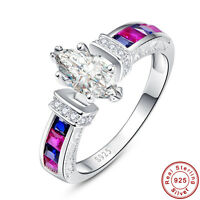 White Topaz & Ruby & Sapphire 100% 925 Sterling Silver Ring Size L½ N½ P½ R½