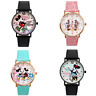 AUTHENTIC Disney Mickey Minnie Mouse Leather Strap Couple Kid Watch Classic Cute