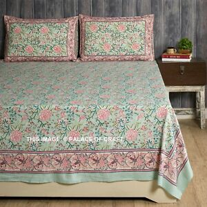 Indian Handmade Bed Decor Floral Print Bedspread Bed Sheet With 2 Pillow Cover