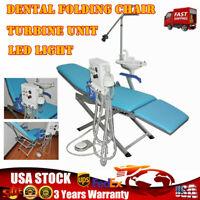 Dental Folding Chair With LED Light Turbine Unit Handpiece 4-Hole Weak Suction