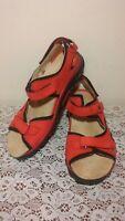 WALDLAUFER Luftpolster Women's Size 10 Red Suede Strappy Slingback Sandals