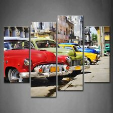 Framed Vintage Car Wall Art Old Street Painting Pictures Canvas Print Picture