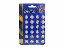 Sewing Box 24 Press Studs Silver Cloth Poppers Button Dressmaking Snap Fasteners