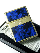 Zippo 1935 Replica G Line Blue Gold Tank Gold Plating Etching Japan Limited F/S