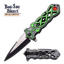 """Dark Side Blades 8.5"""" Spearpoint Folding Pocket Knife - Silver & Green"""