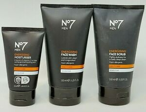 No7 for Men Energising Face Scrub 150ml + Face Wash 150ml + Moisturiser 50ml