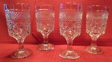 Vintage Anchor Hocking  Wexford Pattern Stemmed Glass / Water Goblet / Set of 4