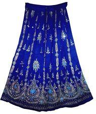 INDIAN RAYON CREPE SEQUIN SKIRT GOLD PRINTING CRINKLE LEHENGA WRAP AROUND DRESS