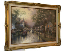 "Limited Edition Thomas Kinkade""Hometown Morning"" Canvas 25.5"" x 34"" 1936/3850"