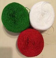 Lace yarn Crystal ColorsG/W/R Acrylic Rayon.900 yards per ball.1 lot of 3 Balls.
