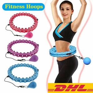24Teile Smart Hula Hoop Reifen Fitness Einstellbar Massagenoppen Bauchtrainer DE