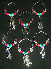 6 Glass Pearl Silver Hippie Wine Glass Charms Music Peace Guitar Bear Flowers
