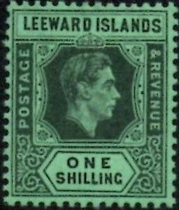 Leeward Islands 1942 KGVI  1/- Black & Grey/Emerald SG.110bb Mint Lightly Hinged