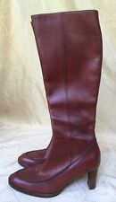 Vintage Ralph Lauren Cognac Brown Tall Leather Boots  Sz 8.5 B Italy 70's style