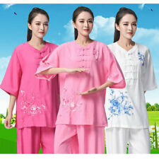 Chinese Tai Chi Uniforms Women Martial Arts Clothing linen Kung Fu Suits embroid