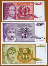 SET Yugoslavia, 10;50;100 Dinara, 1990, Pick 103;104;105, UNC > Girl, Boy, Woman