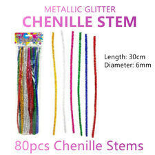 80pcs Colourful Chenille Stems Craft Sticks Yarn Pipe Bottle Cleaning DIY Arts
