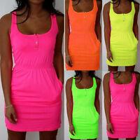 Womens Casual Sleeveless Dress Summer Ladies Bandage Mini Vest Dress Size UK8-22