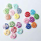 100PCS Scrapbook Craft Wood Buttons Flower Mixed Pattern 2 Holes 15mm Sewing
