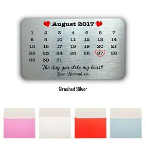 Personalised Date Keepsake-Mini Card Wallet/Purse Gift Card-Various Occasions