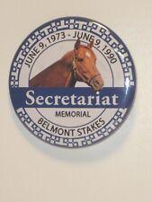 "SECRETARIAT - 1990 Belmont Stakes Memorial 1.5"" Pinback Button in MINT Condition"