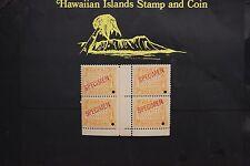 280 SPECIMEN HAWAII REPUBLIC BLOCK OF 4 GUTTER BLOCK 1894 UNUSED SCOTT#74-s