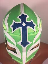 REY MISTERIO WRESTLING-LUCHADOR MASK! BOOYAKA!!GREAT FOR HALLOWEEN! LIME GREEN!