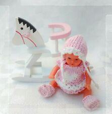 """Puppenkleidung """" Kleidchen Set """" 4 teilig Handarbeit Miniatur Ari Ooak ES 6,5 cm"""