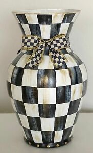 MY OWN Hand Painted Courtly Large Glass Vase with MacKenzie-Childs Ribbon Bow