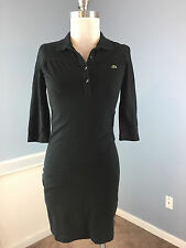 LACOSTE 34 0 2 XS Black Polo Shirt Dress Excellent Career Casual 3/4 sleeve