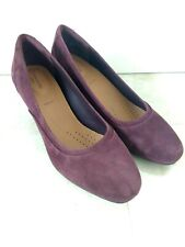 Clarks Burgundy Suede Court Shoes Size UK 7.5 E Wide Fit Block Heel