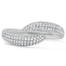 Womens 0.43 CT 14K White Gold Pave Diamond Open Claw Wrap Statement Ring Fashion