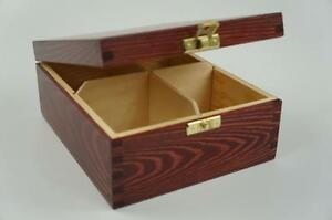 Wooden Tea Box Tea Bag Chest  4 Compartments Tea Caddy Laquered Mahogany H4mm