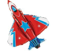 "Red Fighter Jet Balloon 34"" Birthday Party Boy foil mylar airplane military"