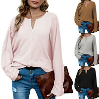 Women Long Sleeve Knitted Sweater Jumper Ladies Plain Casual Loose Pullover Tops