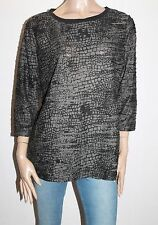 Capture Brand Charcoal Textured 3/4 Sleeve Pull Over Top Size 18 BNWT #TF16