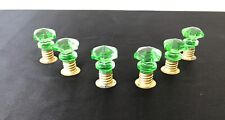Antique GREEN GLASS CABINET DRAWER KNOB PULLS w Threaded Brass Sleeves Lot 6