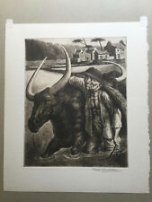 """Original Etching By FEDERICO CASTELLON - """"RICE FARMER"""" Published By AAA"""