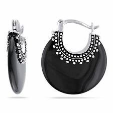 Amour Sterling Silver Black Onyx Earrings