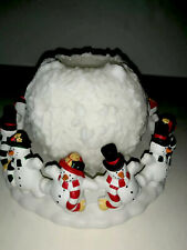Partylite Frolicking Snowman Frostys 3- Wick Holder And Snowball Candle Orig Box