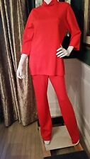 NEW-ST-JOHN-RED-DRESS-PANT & TOP-SIZE-6 & SMALL-FLAME 2PC SET