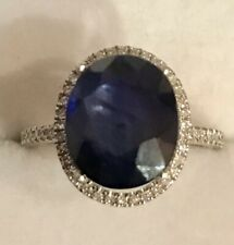 6.43 Carats Natural Sapphire and Diamond 14K Solid White Gold Ring