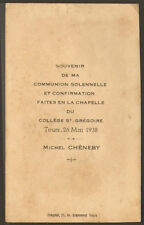 GENEALOGIE IMAGE RELIGIEUSE COMMUNION ? TOURS SAINT-GREGOIRE MICHEL CHENEBY 1938