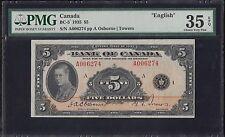 "CANADA BC-5 1935 $5 ""ENGLISH"" -- PMG HIGH END VF EPQ -- HV5481"